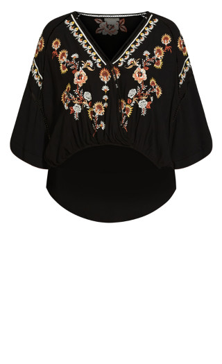 Angel Heart Embroidered Top - black