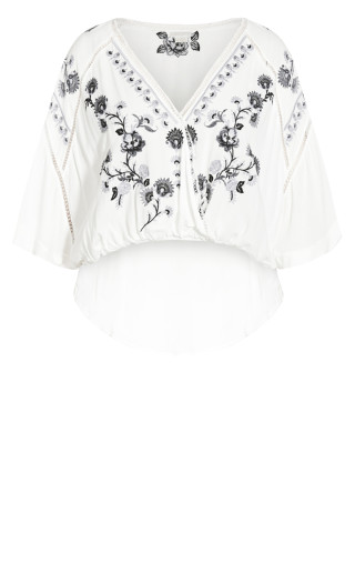 Angel Heart Embroidered Top - ivory