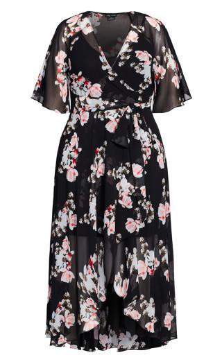 Lotus Wrap Maxi Dress - black