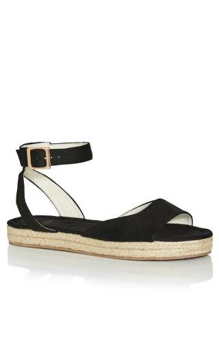 EXTRA WIDE FIT Ankle Strap Flatform - black