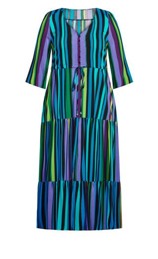 Endless Sun Maxi Dress - aqua stripe