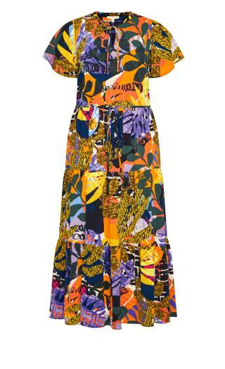 Happy Tier Print Maxi Dress - yellow palm