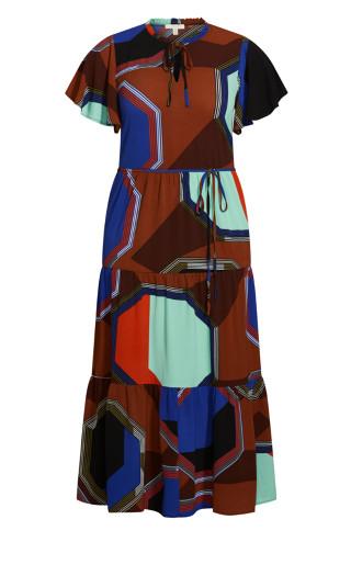 Happy Tier Print Maxi Dress - brown