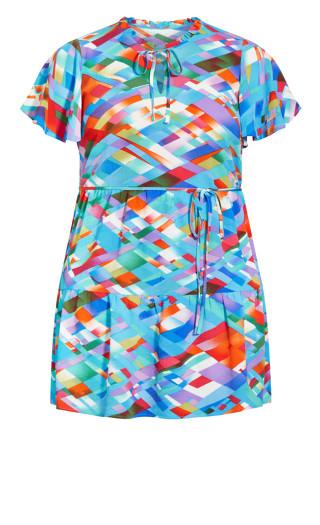 Happy Tier Print Dress - aqua
