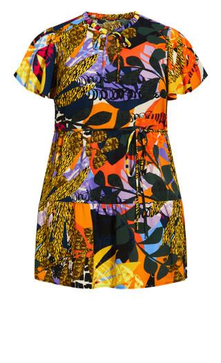 Happy Tier Print Dress - yellow palm