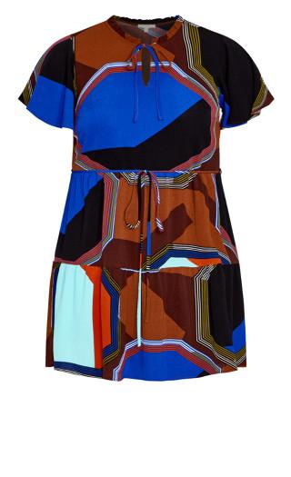 Happy Tier Print Dress - brown
