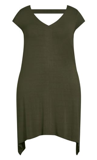 Plain Knit Dress - olive