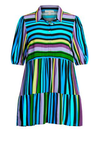 Majesty Mini Dress - aqua stripe