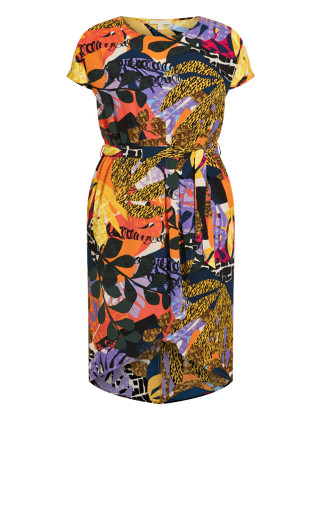 Meant To Be Print Dress - yellow palm