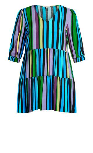 To The Max Mini Dress - aqua stripe