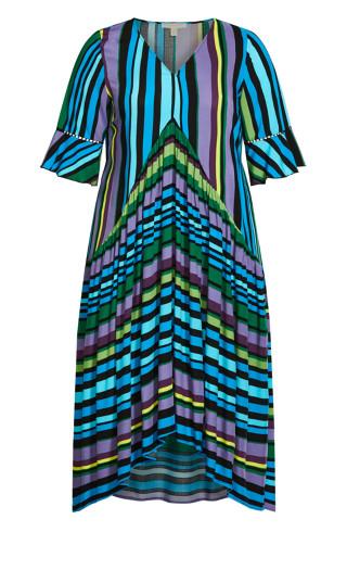 Valencia Dress - aqua stripe