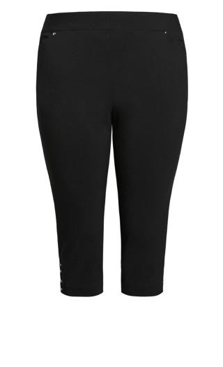 Lace Up Capri Pant - black
