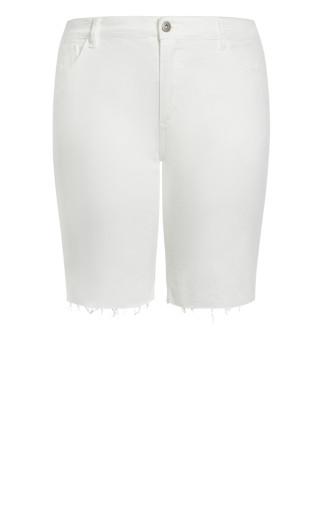 Denim Fray Short - white
