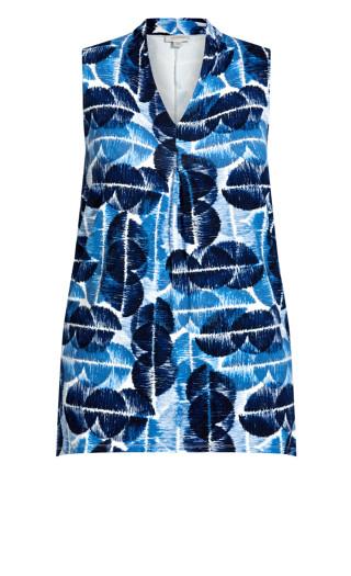 Aria Pleat Print Top - indigo spot