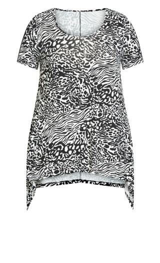 Ayla Mesh Sleeve Tunic - zebra