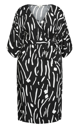 Day Date Print Maxi Dress - black print