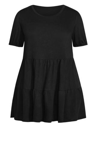 Lylah Tiered Dress - black