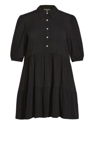 Majesty Plain Mini Dress - black