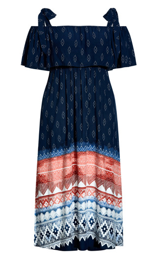 Melody Cold Shoulder Border Maxi Dress - navy