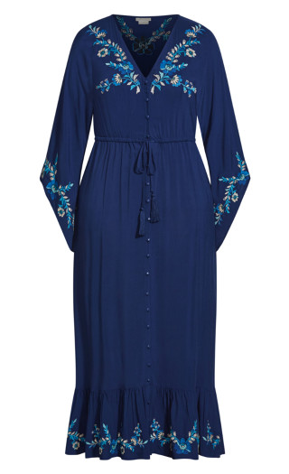 Embroidered Folklore Maxi Dress - sapphire