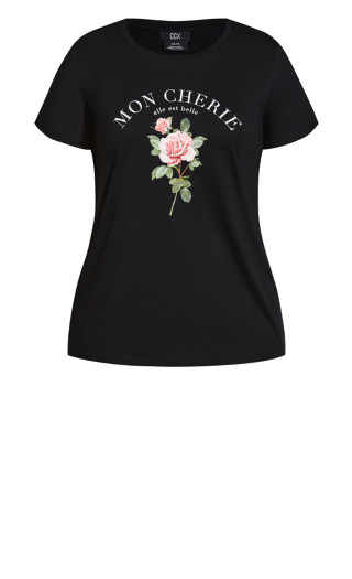 French Rose Tee - black