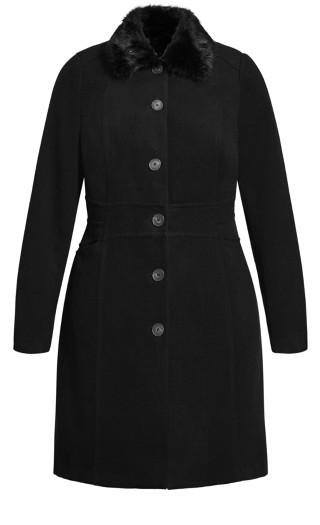 Softly Cinched Coat - black
