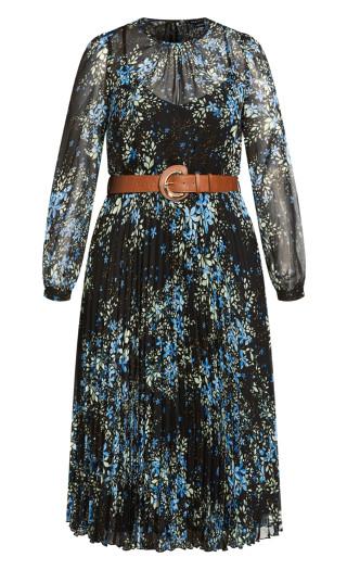 Belted Ditsy Dress - black