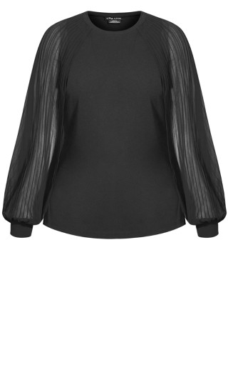 Pleated Bay Top - black