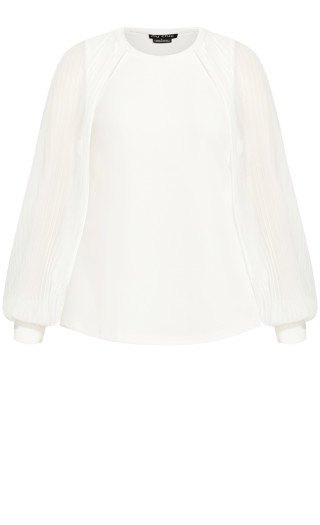 Pleated Bay Top - ivory