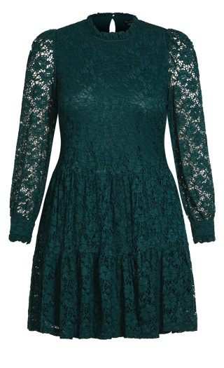 Tiered Lace Dress - emerald