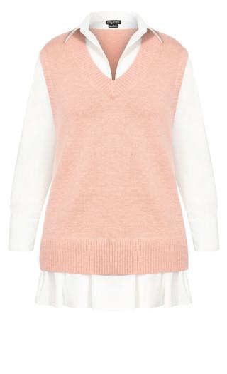 Knit Vest Dress - pink