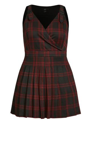 Pinafore Check Dress - berry