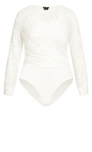 Long Sleeve Lace Bodysuit - creme