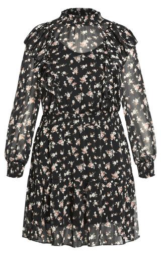 Rosebud Ruffle Dress - black
