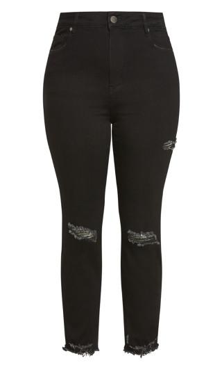 Harley Thigh Split Jean - washed black