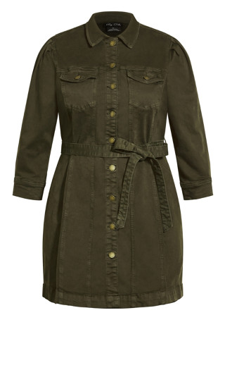 Girly Utility Dress - khaki