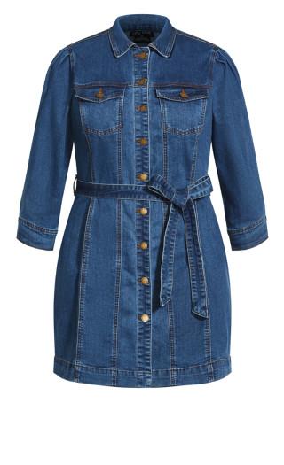 Girly Utility Dress - mid denim