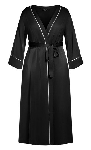 Nora Satin Long Robe - black