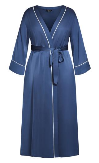 Nora Satin Long Robe - dusty blue