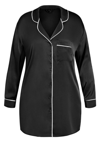 Nora Satin Longline Shirt - black