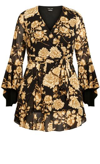 Luxe Floral Dress - caramel