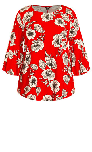 Cindy Sleeve Detail Top - red