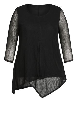 Erin Mesh Plain Top - black
