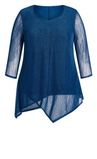 Erin Mesh Plain Top - blue