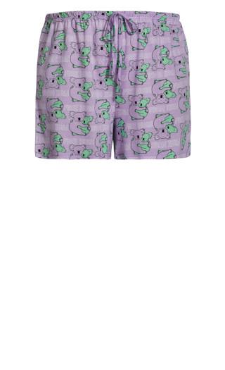 Tie Waist Sleep Short - lilac koala