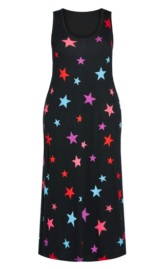 Multi Star Maxi Sleep Dress - black