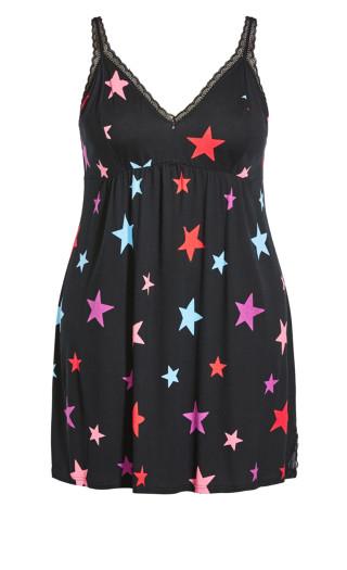 Star Lace Trim Sleep Dress - black