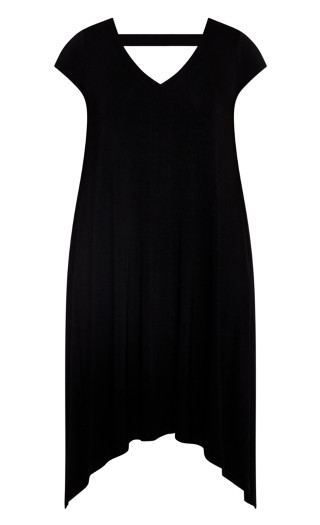 Plain Knit Dress - black