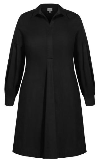 Chic Shirt Dress - black