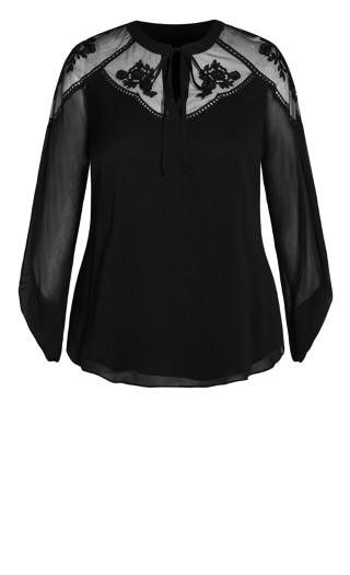 Spring Embroidered Top - black